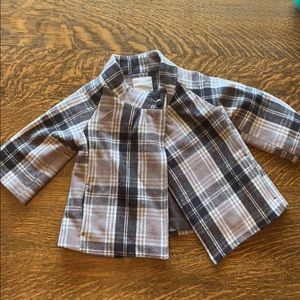 Old Navy Plaid Wool Jacket - brown & French gray